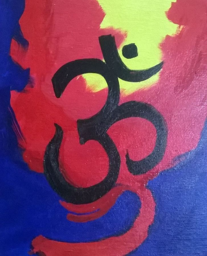 om, 8 x 10 inch, mohita chowksey,religious paintings,paintings for office,canvas,acrylic color,8x10inch,GAL08702333