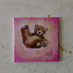 baby bear, 4 x 4 inch, priyanshu sharma,4x4inch,canvas board,paintings,wildlife paintings,animal paintings,baby paintings,miniature painting.,paintings for kids room,paintings for school,paintings for hospital,paintings for kids room,paintings for school,paintings for hospital,acrylic color,GAL0973623338