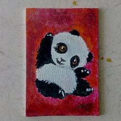 baby panda, 4 x 6 inch, priyanshu sharma,4x6inch,canvas board,paintings,wildlife paintings,baby paintings,miniature painting.,paintings for kids room,paintings for school,paintings for hospital,paintings for kids room,paintings for school,paintings for hospital,acrylic color,GAL0973623339