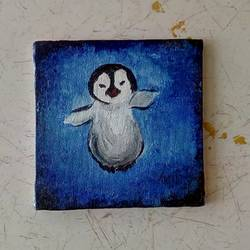 baby penguin, 4 x 4 inch, priyanshu sharma,4x4inch,canvas board,paintings,wildlife paintings,animal paintings,baby paintings,paintings for kids room,paintings for school,paintings for hospital,acrylic color,GAL0973623340