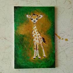 baby giraffe, 4 x 6 inch, priyanshu sharma,4x6inch,canvas board,paintings,wildlife paintings,animal paintings,baby paintings,paintings for kids room,paintings for school,paintings for hospital,acrylic color,GAL0973623341