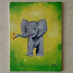 baby elephant, 6 x 8 inch, priyanshu sharma,6x8inch,canvas board,paintings,wildlife paintings,animal paintings,elephant paintings,baby paintings,paintings for kids room,paintings for school,paintings for hospital,acrylic color,GAL0973623342