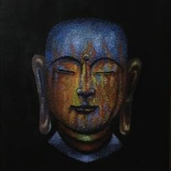 colorful buddha at peace, 20 x 24 inch, varun  n rao,20x24inch,canvas,paintings,buddha paintings,art deco paintings,minimalist paintings,paintings for living room,paintings for bedroom,paintings for office,paintings for hotel,acrylic color,GAL0880923359