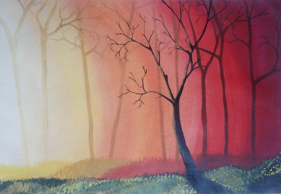 sunrise, 18 x 14 inch, prashant apte,nature paintings,paintings for living room,landscape paintings,paintings for office,handmade paper,acrylic color,18x14inch,GAL09032336Nature,environment,Beauty,scenery,greenery