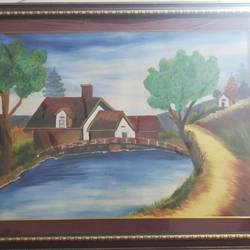 village, 5 x 4 inch, abha singh,5x4inch,canvas,paintings,landscape paintings,portrait paintings,paintings for dining room,paintings for office,paintings for hospital,oil color,GAL01337423364