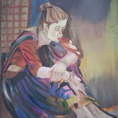 women in her thought, 8 x 4 inch, abha singh,8x4inch,canvas,paintings,nature paintings,photorealism paintings,realism paintings,realistic paintings,paintings for living room,paintings for bedroom,paintings for office,paintings for hotel,paintings for hospital,oil color,GAL01337423365