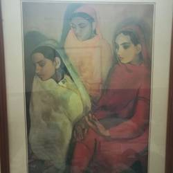 three ladies, 8 x 20 inch, abha singh,8x20inch,canvas,paintings,folk art paintings,expressionism paintings,illustration paintings,paintings for dining room,paintings for living room,paintings for hotel,paintings for school,paintings for hospital,paintings for dining room,paintings for living room,paintings for hotel,paintings for school,paintings for hospital,oil color,GAL01337423369
