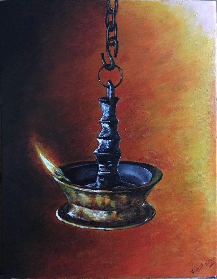 hanging bronze temple lamp, 16 x 20 inch, varun  n rao,16x20inch,canvas,paintings,religious paintings,still life paintings,art deco paintings,realism paintings,paintings for dining room,paintings for living room,paintings for hotel,acrylic color,GAL0880923374