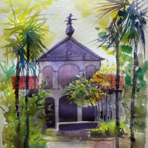 heritage building, 15 x 11 inch, surendra  panchal,15x11inch,handmade paper,paintings,cityscape paintings,landscape paintings,paintings for living room,paintings for office,paintings for hotel,watercolor,GAL01323523396