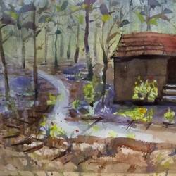 house n jungle, 15 x 11 inch, surendra  panchal,15x11inch,handmade paper,paintings,landscape paintings,paintings for living room,paintings for office,watercolor,GAL01323523397