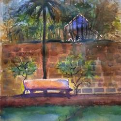 konkan scene, 15 x 11 inch, surendra  panchal,15x11inch,handmade paper,paintings,landscape paintings,paintings for living room,paintings for office,watercolor,GAL01323523398