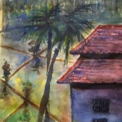 konkan in rain, 15 x 11 inch, surendra  panchal,15x11inch,handmade paper,paintings,landscape paintings,paintings for living room,paintings for office,watercolor,GAL01323523399