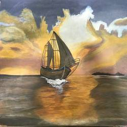 ocean and sailing ship - landscape, 21 x 14 inch, babita  jain,21x14inch,paper,paintings,landscape paintings,acrylic color,GAL01296723403