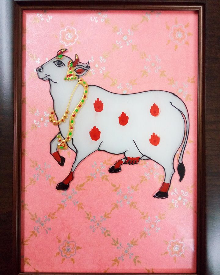 pichwai cow, 6 x 8 inch, deepti agrawal,6x8inch,acrylic glass,paintings,wildlife paintings,figurative paintings,folk art paintings,religious paintings,illustration paintings,animal paintings,paintings for dining room,paintings for living room,paintings for bedroom,paintings for bathroom,paintings for kids room,paintings for hotel,paintings for kitchen,paintings for school,paintings for hospital,acrylic color,GAL0596823411