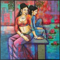 the lake, 36 x 36 inch, rupali mistry,36x36inch,canvas,paintings,figurative paintings,acrylic color,GAL01340223415