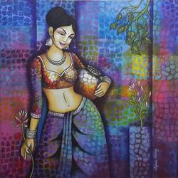 the life, 24 x 24 inch, rupali mistry,24x24inch,canvas,paintings,figurative paintings,acrylic color,GAL01340223416
