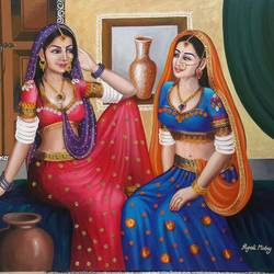friends, 36 x 30 inch, rupali mistry,36x30inch,canvas,paintings,figurative paintings,paintings for living room,acrylic color,GAL01340223417