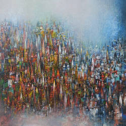 temple town, 72 x 48 inch, m. singh,72x48inch,canvas,abstract paintings,cityscape paintings,modern art paintings,religious paintings,expressionism paintings,realism paintings,contemporary paintings,paintings for living room,paintings for bedroom,paintings for office,paintings for living room,paintings for bedroom,paintings for office,acrylic color,GAL0537723440