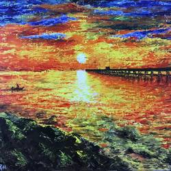 pondicherry beach sunrise painting, 20 x 16 inch, varun  n rao,20x16inch,canvas,paintings,landscape paintings,nature paintings,impressionist paintings,paintings for dining room,paintings for living room,paintings for bedroom,paintings for office,paintings for hotel,paintings for hospital,paintings for dining room,paintings for living room,paintings for bedroom,paintings for office,paintings for hotel,paintings for hospital,acrylic color,GAL0880923442