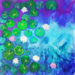 water lilies, 45 x 45 inch, masoom sanghi,45x45inch,canvas,paintings,abstract paintings,flower paintings,nature paintings,paintings for living room,paintings for bedroom,paintings for office,paintings for hotel,acrylic color,GAL057223451,water,waterlilies,lotus