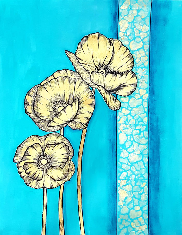 golden poppies, 20 x 30 inch, masoom sanghi,20x30inch,ivory sheet,paintings,abstract paintings,flower paintings,modern art paintings,nature paintings,paintings for dining room,paintings for living room,paintings for bedroom,paintings for office,paintings for kids room,paintings for hotel,paintings for school,paintings for hospital,acrylic color,GAL057223453