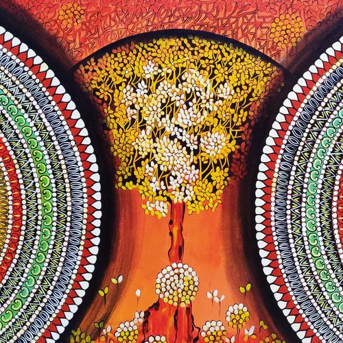mandala - expansion beyond dimension, 40 x 30 inch, nitu chhajer,40x30inch,canvas,paintings,abstract paintings,acrylic color,GAL058223455