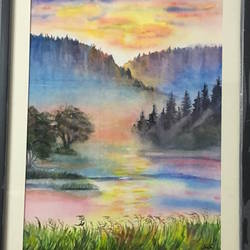misty morning , 12 x 16 inch, smita yadav,12x16inch,brustro watercolor paper,paintings,nature paintings,watercolor,GAL01310423461