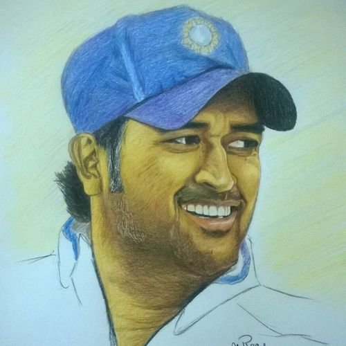 ms dhoni color pencil portrait, 11 x 16 inch, varun  n rao,11x16inch,paper,drawings,portrait drawings,realism drawings,paintings for dining room,paintings for living room,paintings for bedroom,paintings for office,paintings for kids room,paintings for hotel,paintings for school,pencil color,GAL0880923474