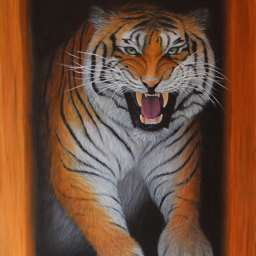 roaring tiger, 24 x 36 inch, goutami mishra,24x36inch,canvas,paintings,wildlife paintings,nature paintings,expressionism paintings,photorealism paintings,photorealism,realism paintings,animal paintings,contemporary paintings,realistic paintings,paintings for dining room,paintings for living room,paintings for bedroom,paintings for office,paintings for kids room,paintings for hotel,paintings for school,oil color,GAL046523475