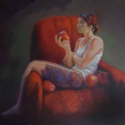 lady alone, 24 x 24 inch, venkatesh krishna,24x24inch,canvas,conceptual paintings,photorealism paintings,realism paintings,paintings for dining room,paintings for living room,paintings for bedroom,paintings for office,paintings for dining room,paintings for living room,paintings for bedroom,paintings for office,oil color,GAL01336523477
