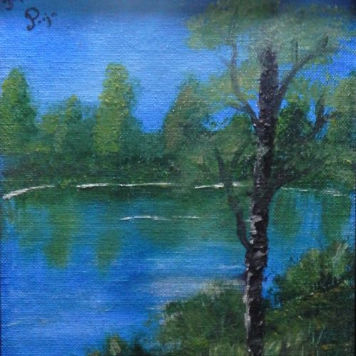 blue waters, 8 x 10 inch, pooja  naidu ,landscape paintings,paintings for living room,nature paintings,paintings for office,canvas,oil,8x10inch,GAL08902349Nature,environment,Beauty,scenery,greenery