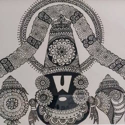 balaji, 8 x 11 inch, susmitha vaddi,8x11inch,thick paper,drawings,fine art drawings,pen color,GAL01346123493