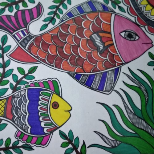 fishy story, 8 x 10 inch, rayana saha,8x10inch,drawing paper,madhubani paintings,paintings for dining room,paintings for living room,paintings for kids room,paintings for school,paintings for dining room,paintings for living room,paintings for kids room,paintings for school,pen color,GAL01304623494