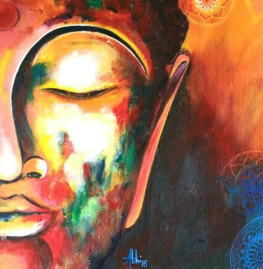 peace of half face , 12 x 12 inch, abhipsa das,paintings for living room,buddha paintings,canvas,acrylic color,12x12inch,religious,peace,meditation,meditating,gautam,goutam,buddha,colourful,side face,sleeping,blessing,GAL0104235