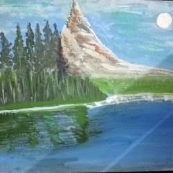 mountain and the blue sky, 8 x 10 inch, kanchana swapna korati,8x10inch,canvas,landscape paintings,paintings for bedroom,paintings for bedroom,acrylic color,GAL0817623500