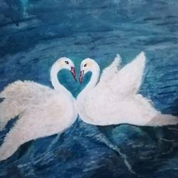 swan lake, 16 x 10 inch, kanchana swapna korati,16x10inch,canvas,paintings,conceptual drawings,paintings for living room,acrylic color,GAL0817623502