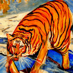 tiger, 40 x 30 inch, anand manchiraju,40x30inch,canvas,paintings,wildlife paintings,animal paintings,paintings for dining room,paintings for living room,paintings for office,paintings for kids room,acrylic color,GAL01254023508