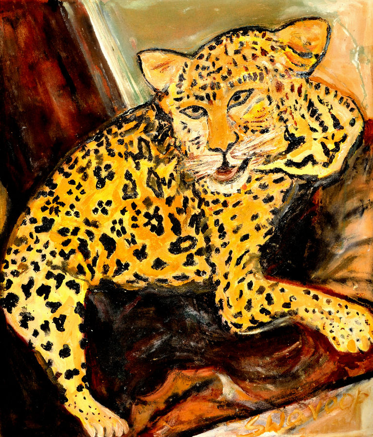 leopard, 30 x 36 inch, anand manchiraju,30x36inch,canvas,paintings,wildlife paintings,animal paintings,paintings for dining room,paintings for living room,paintings for bedroom,paintings for kids room,mixed media,GAL01254023509
