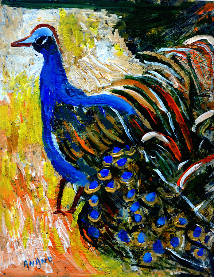 peacock-3, 12 x 15 inch, anand manchiraju,12x15inch,fabriano sheet,paintings,wildlife paintings,nature paintings,animal paintings,paintings for dining room,paintings for living room,paintings for bedroom,paintings for kids room,mixed media,GAL01254023512