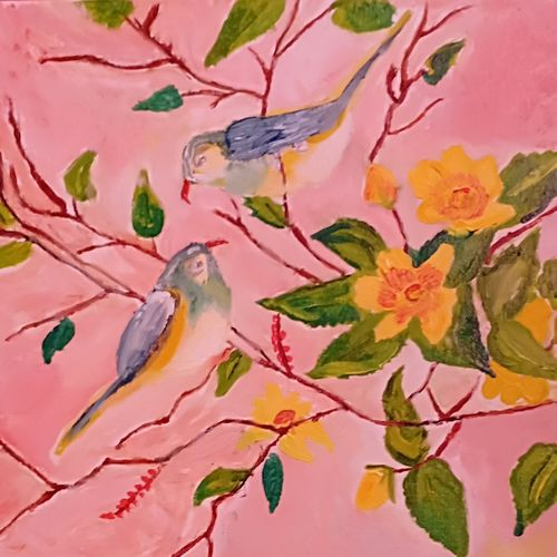 birds on the branches, 14 x 10 inch, kanchana swapna korati,14x10inch,canvas,paintings,animal paintings,paintings for living room,acrylic color,GAL0817623516
