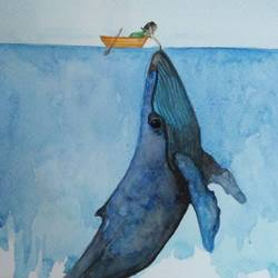 whale kissing boat, 6 x 8 inch, lalit  r,6x8inch,thick paper,paintings,wildlife paintings,nature paintings,paintings for living room,paintings for living room,watercolor,GAL0482823519
