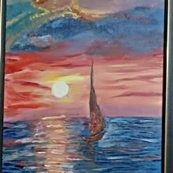 sunsetting, 20 x 14 inch, kanchana swapna korati,20x14inch,canvas,landscape paintings,paintings for living room,paintings for living room,oil color,GAL0817623527