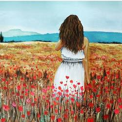 into the poppies, 13 x 11 inch, varun sharma,13x11inch,canvas,paintings,flower paintings,landscape paintings,nature paintings,paintings for dining room,paintings for bedroom,paintings for hotel,acrylic color,GAL01350523545