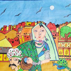 rajasthani couples, 17 x 13 inch, rayana saha,17x13inch,thick paper,folk art paintings,paintings for dining room,paintings for living room,paintings for bedroom,paintings for hotel,paintings for dining room,paintings for living room,paintings for bedroom,paintings for hotel,acrylic color,poster color,GAL01304623547