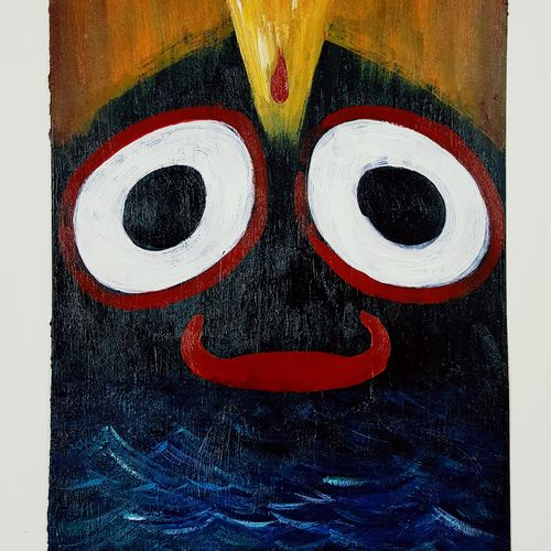 jagannath , 5 x 11 inch, somnath chakraborty,5x11inch,thick paper,paintings,abstract paintings,paintings for dining room,paintings for living room,paintings for bedroom,acrylic color,GAL01351023552
