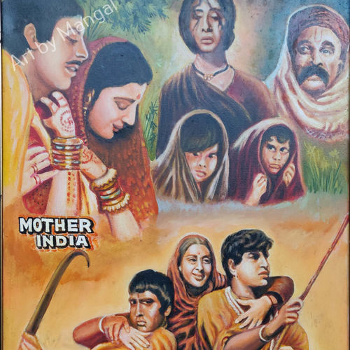 mother india movie, 25 x 35 inch, mangal singh,25x35inch,canvas,paintings,portrait paintings,paintings for dining room,paintings for living room,paintings for office,paintings for hotel,oil color,GAL0648523558