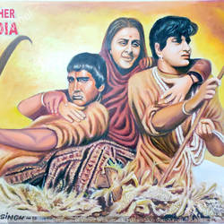 iconic mother india poster, 45 x 35 inch, mangal singh,45x35inch,canvas,paintings,portrait paintings,photorealism paintings,photorealism,portraiture,realism paintings,paintings for dining room,paintings for living room,paintings for office,paintings for hotel,paintings for dining room,paintings for living room,paintings for office,paintings for hotel,oil color,GAL0648523559
