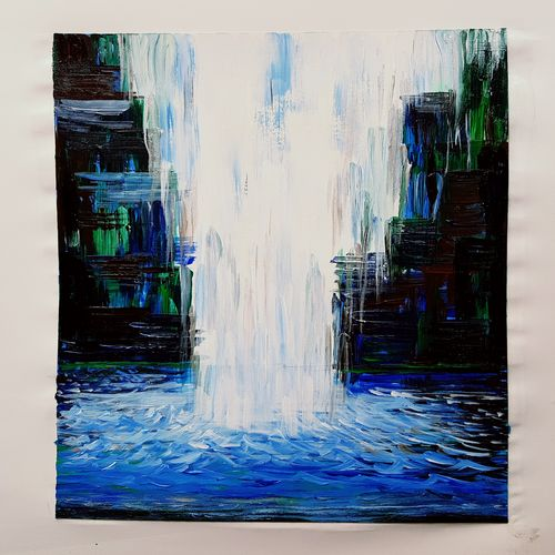 rainforest waterfalls, 7 x 11 inch, somnath chakraborty,7x11inch,paper,paintings,wildlife paintings,paintings for living room,paintings for bedroom,paintings for office,paintings for bathroom,paintings for hotel,acrylic color,GAL01351023565
