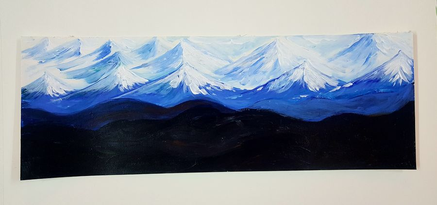 blue mountain , 14 x 5 inch, somnath chakraborty,14x5inch,paper,paintings,landscape paintings,nature paintings,paintings for dining room,paintings for living room,paintings for bedroom,paintings for office,paintings for kids room,paintings for hotel,paintings for school,paintings for hospital,acrylic color,GAL01351023566