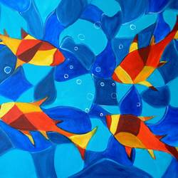 joy fish abstract, 24 x 18 inch, manjiri kanvinde,abstract paintings,paintings for office,paintings for living room,canvas,acrylic color,24x18inch,GAL01202357